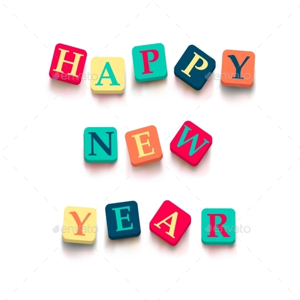 GraphicRiver Words Happy New Year with Colorful Blocks 9434874