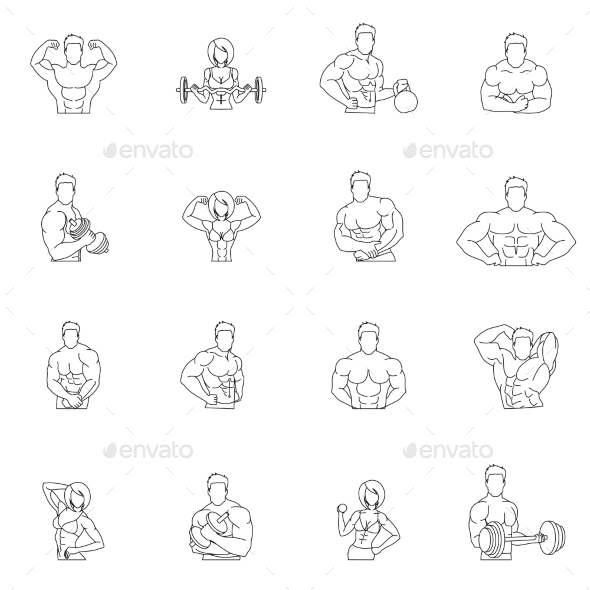 GraphicRiver Bodybuilding Fitness Gym Icons 9434875