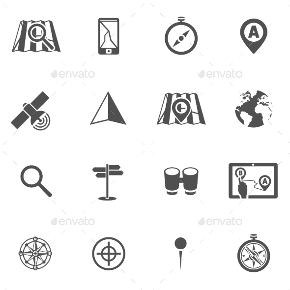 GraphicRiver Navigation Icon Black Set 9434956