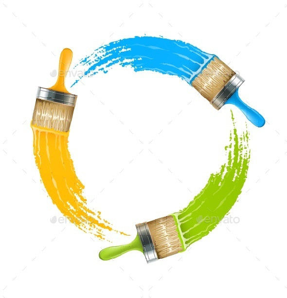 GraphicRiver Circle of Brushes with Paint Drawing Colors 9435046