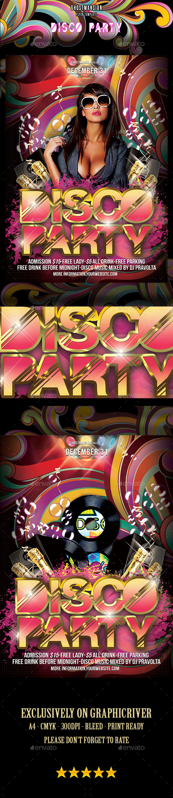 GraphicRiver Happy New Year Disco Party Flyer Template 9370286