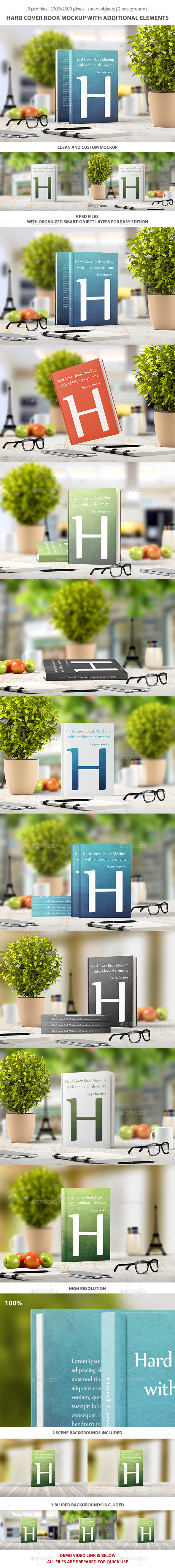 GraphicRiver Hard Cover Book Mockup 9435271