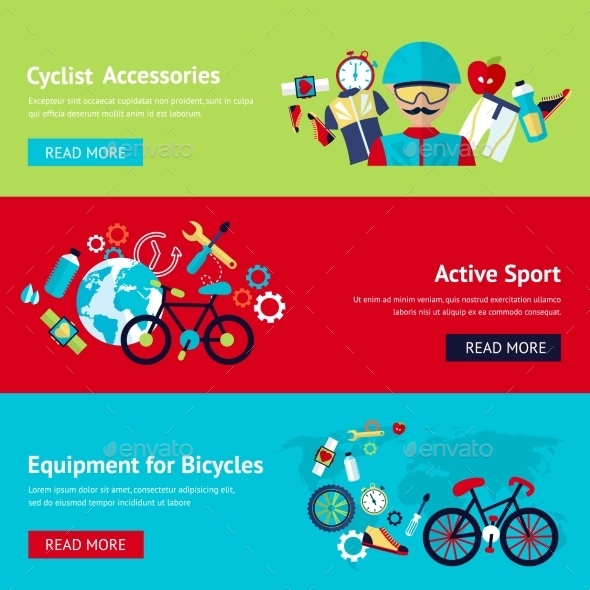 GraphicRiver Bicycle Flat Banner Set 9435377