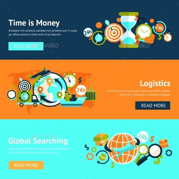 GraphicRiver Logistic Banner Set 9435379
