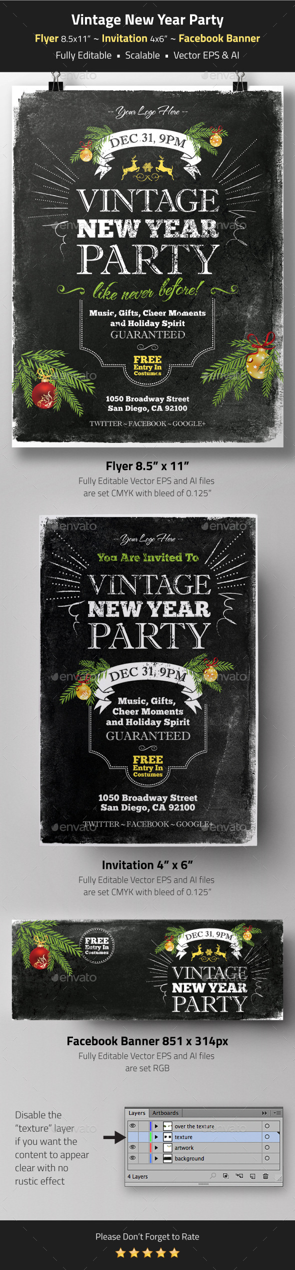 GraphicRiver Vintage New Year Party Flyer Invitation Banner 9435623