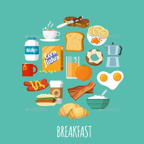GraphicRiver Breakfast Icon Flat 9435689