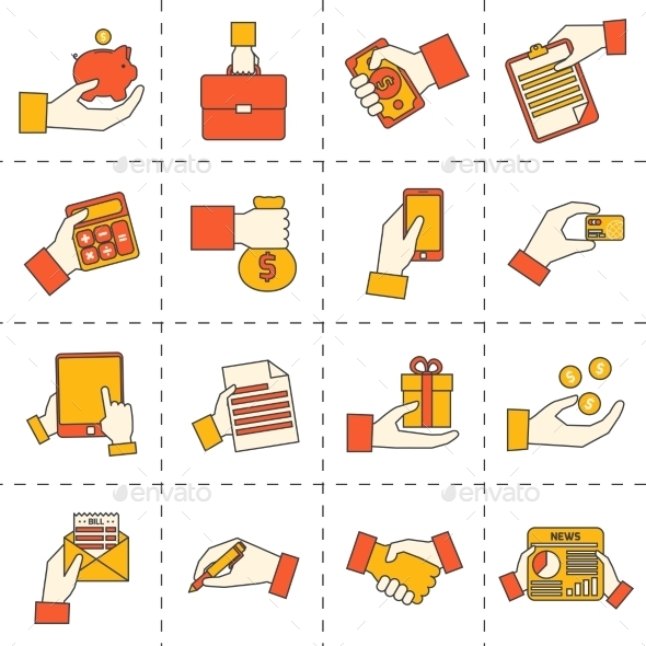 GraphicRiver Business Hands Financial Icons 9435697