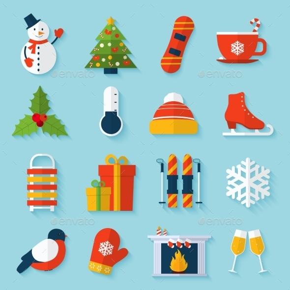 GraphicRiver Winter Stickers Set 9435706