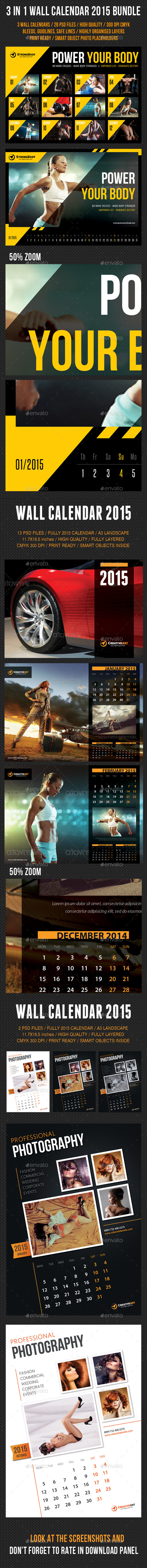 GraphicRiver 3 in 1 Wall Calendar 2015 Bundle V03 9435860