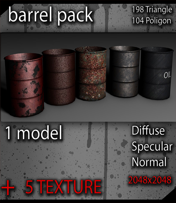 3DOcean Low poly Barrel Pack 9435869