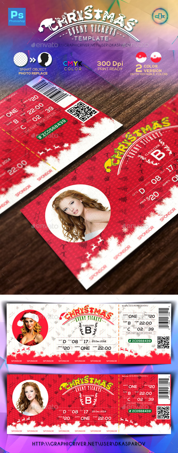 GraphicRiver Christmas Event Tickets Print Ready 9435890