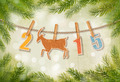 2015 with a goat on winter background.  - PhotoDune Item for Sale