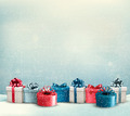 Holiday Christmas background with a border of gift boxes - PhotoDune Item for Sale