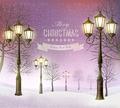 Christmas evening winter landscape with vintage lampposts - PhotoDune Item for Sale