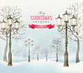 Christmas evening winter landscape with vintage lampposts.  - PhotoDune Item for Sale