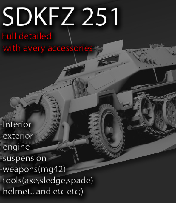 3DOcean Sdkfz 251 High poly 9436180