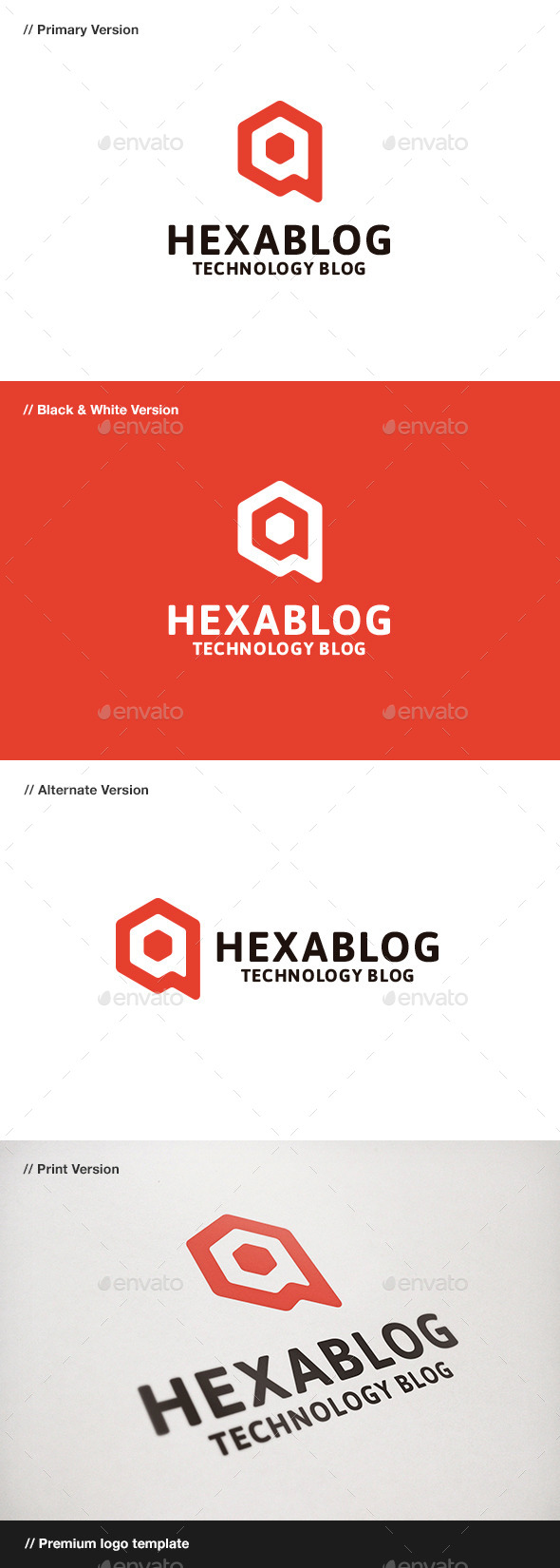 GraphicRiver Hexablog Hexagon & Blog Logo 9436242