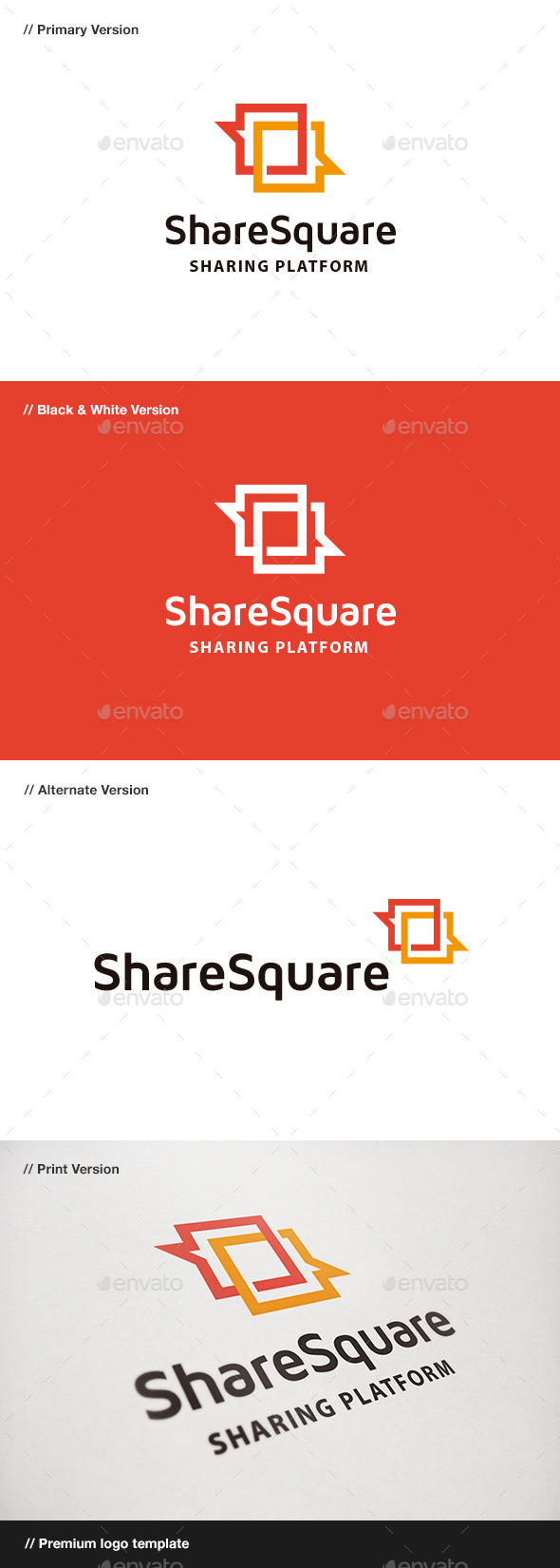 GraphicRiver Share Square Blog & Chat Logo 9436296