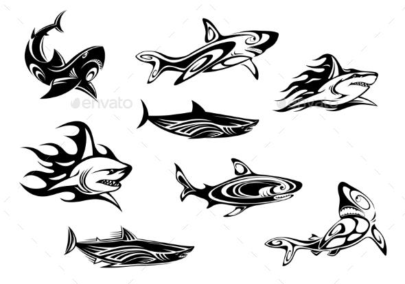 GraphicRiver Fierce Shark Tattoo Icons 9436567