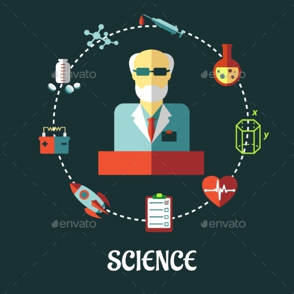 GraphicRiver Different Sciences Flat Concept 9436570