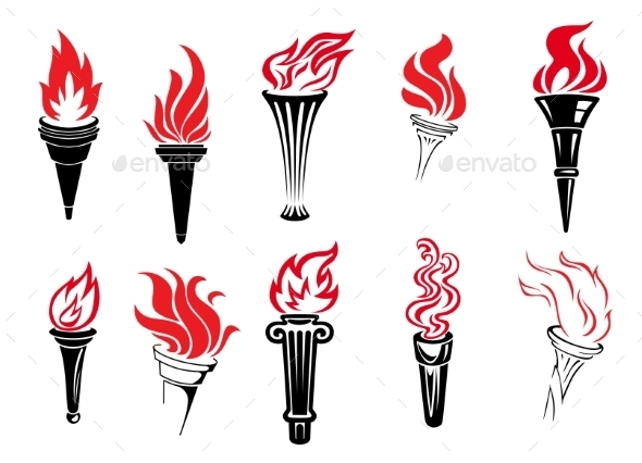GraphicRiver Set of Burning Torches 9436572