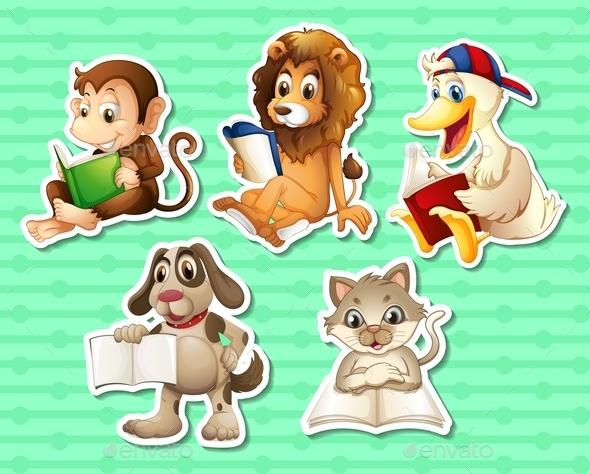 GraphicRiver Animals Reading Books 9436598