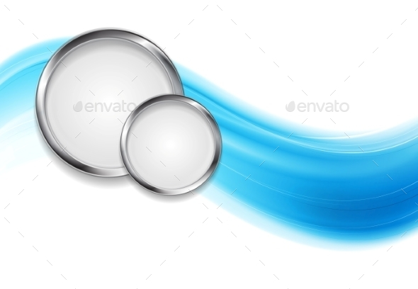 GraphicRiver Blue Waves and Metal Circles 9436601