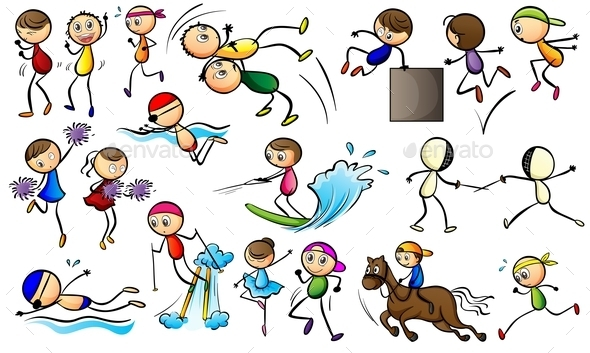 GraphicRiver Kids Doing Sport Activities 9436798
