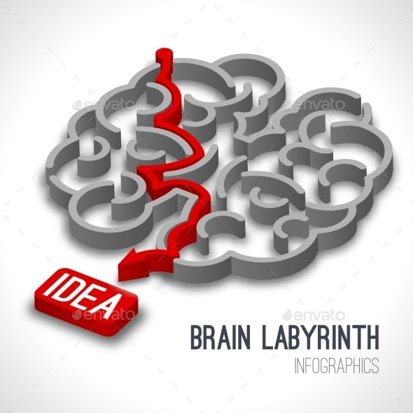 GraphicRiver Brain Labyrinth Infographics 9436824