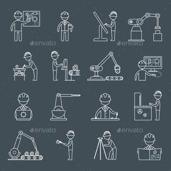 GraphicRiver Engineering Icons Outline 9436868
