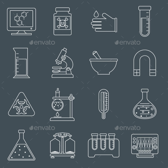 GraphicRiver Laboratory Equipment Icons Outline 9436909