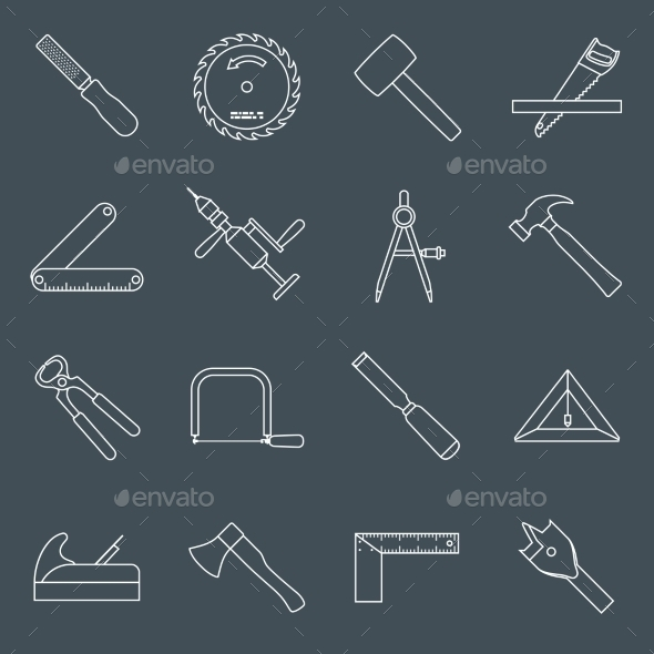 GraphicRiver Carpentry Tools Icons Outline 9436912