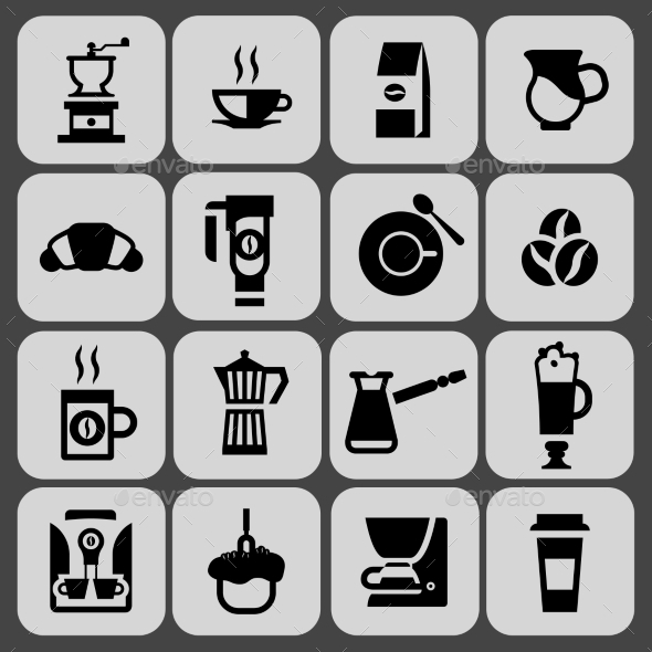GraphicRiver Coffee Icons Black Set 9436943