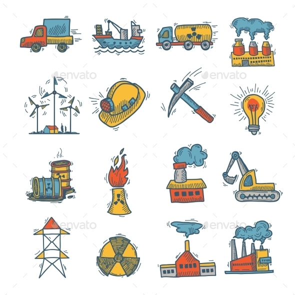 GraphicRiver Industrial Sketch Icon Set 9437074