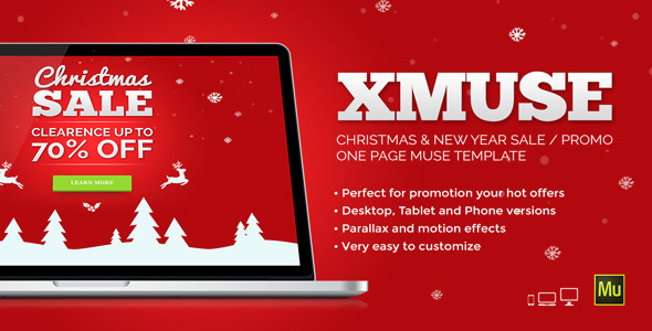 ThemeForest XMuse Christmas Sale Promo Muse Template 9437134