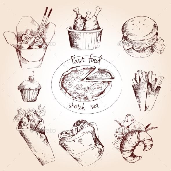 GraphicRiver Fast Food Sketch Set 9437140