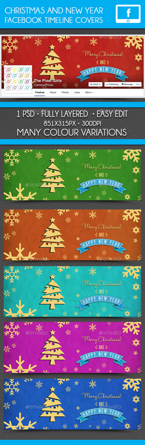 Christmas & New Year Facebook Timeline Cover
