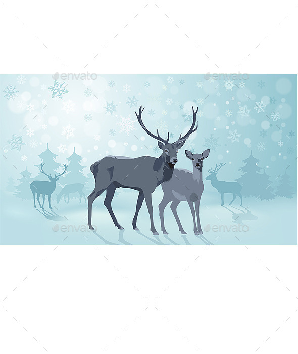 GraphicRiver Winter Landscape with Deers 9439230