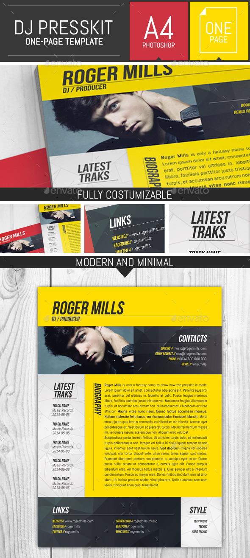GraphicRiver Dj Musician OnePage Press Kit Resume Template 9405869