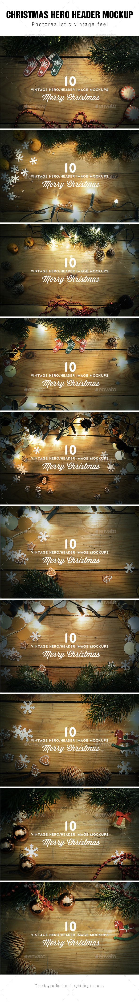 GraphicRiver Christmas Hero Header Images Mockup 9409467