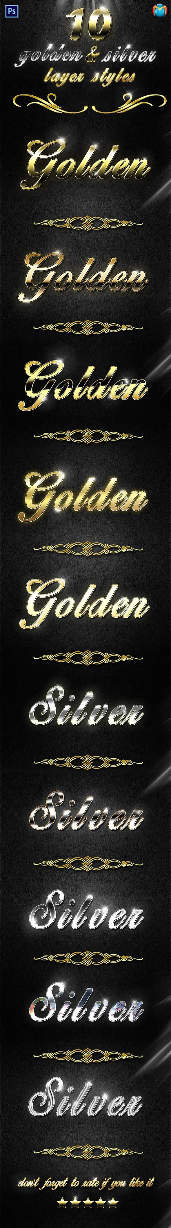 GraphicRiver Golden & Silver Layer Styles V.2 9440356