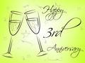 Happy Third Anniversary Indicates Romantic Salutation And Joy