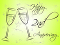 Happy Second Anniversary Shows Greeting Marriage And Salutation
