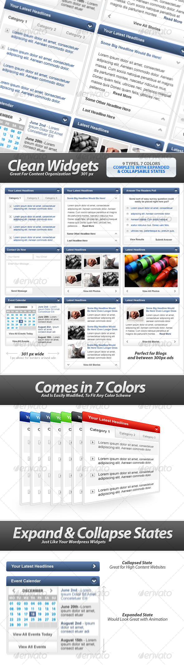 GraphicRiver Clean Widgets Designs For High-Content Sites 120815