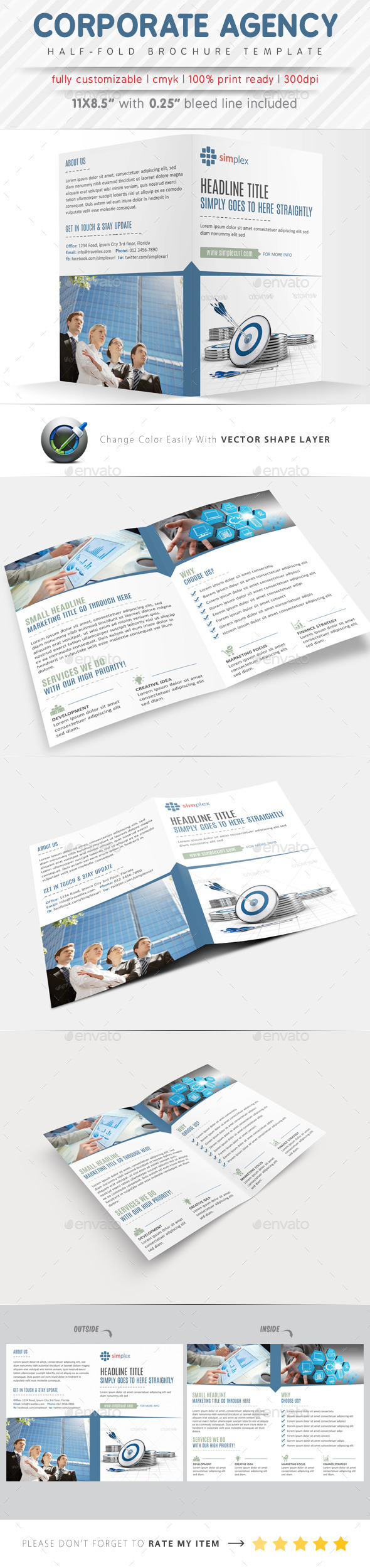 GraphicRiver Corporate Agency Half Fold Brochure 9441334