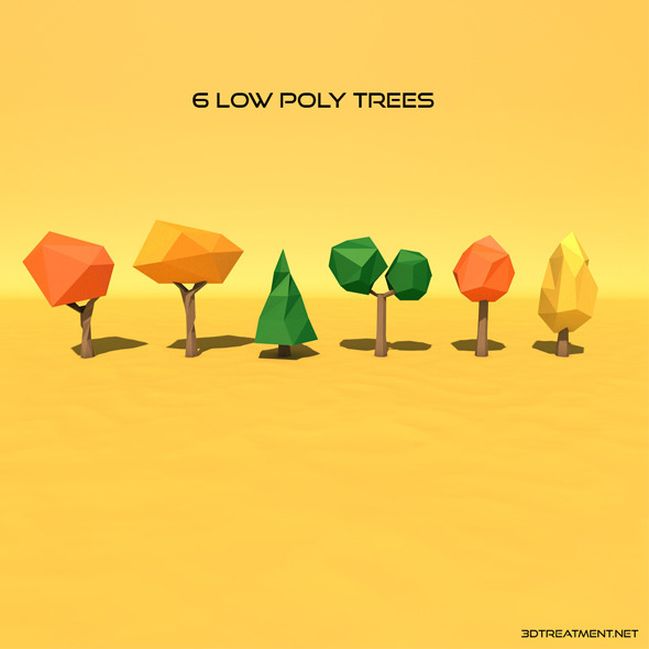 6 Low Poly Trees - 3DOcean Item for Sale