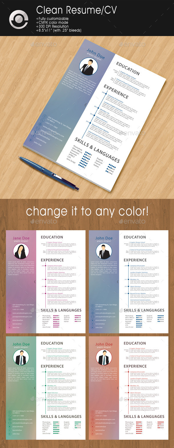 GraphicRiver Clean Resume CV 9406999