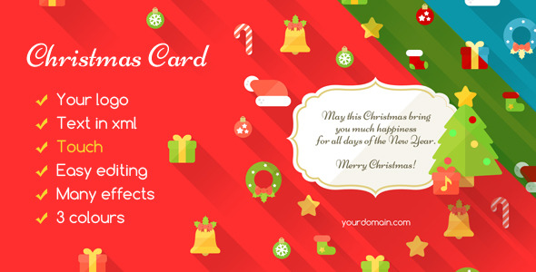 Show your friends how much you and the customer appreciates the Christmas card with a modern, flat style. There are many animations and effects, and you can ch