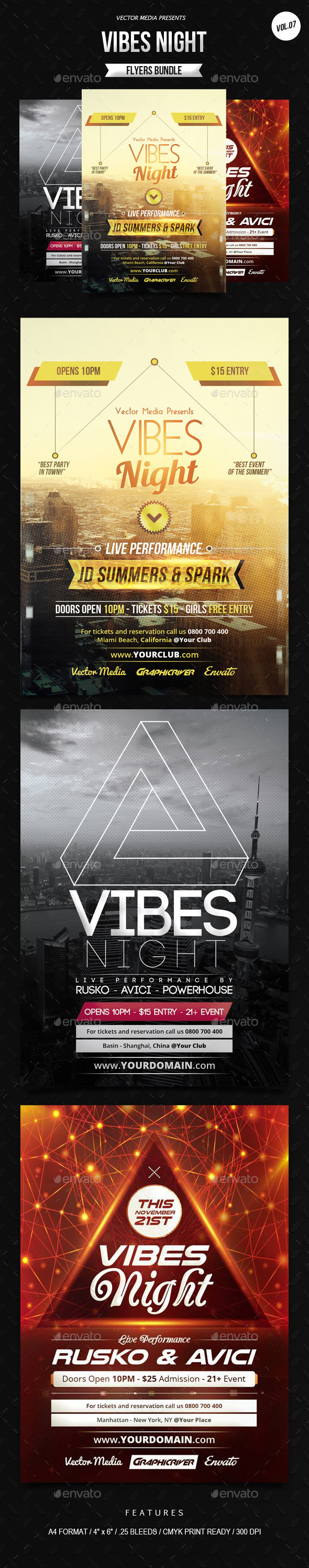 GraphicRiver Vibes Night Flyers Bundle [Vol.7] 9442711