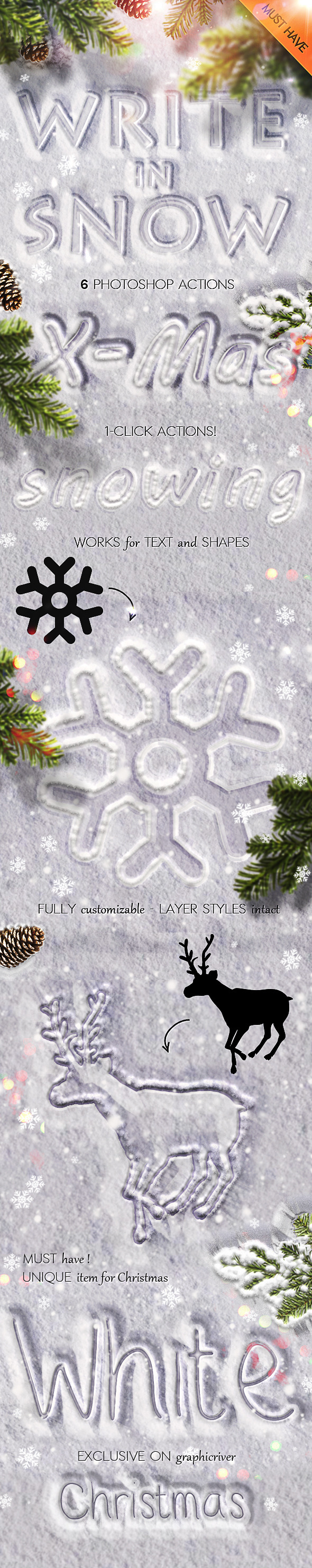 GraphicRiver Snow Writing Photoshop Actions for Winter Time 9442971